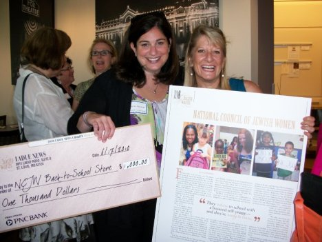 Andrea Newstead and Karen Silverman, BTSS co-chairs with $1000 check and article reprint